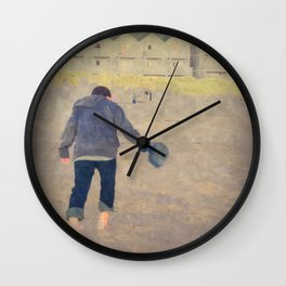 Playing In The Sand Wall Clock