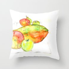 watercolor fruits Throw Pillow