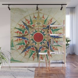 Vintage Compass Rose Diagram (1502) Wall Mural