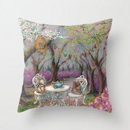 Vintage Woodland Tea Party Throw Pillow