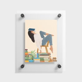 Lost in my books Floating Acrylic Print