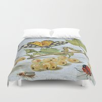insects Duvet Covers featuring Insects Crawling by BravuraMedia