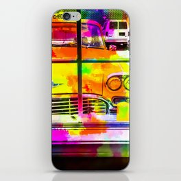 yellow classic taxi car with colorful painting abstract in pink orange green iPhone Skin