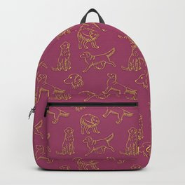 Golden Retriever Pattern (Berry Background) Backpack