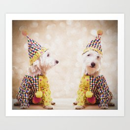 Circus Clown Dogs Art Print