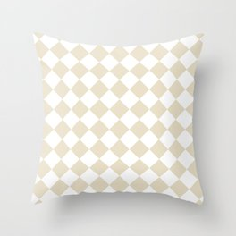 Diamonds - White and Pearl Brown Throw Pillow