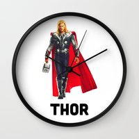 thor Wall Clocks featuring Thor by Grunge & Glam