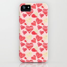 red hearts pattern pink iPhone Case