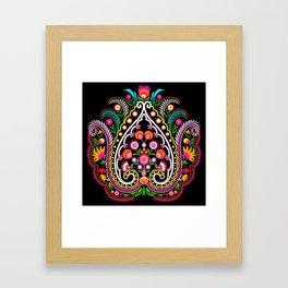 folk damask Framed Art Print
