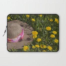 Straw Hat in Field of Dandelions Laptop Sleeve