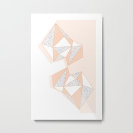 Geometric Nude Color Terrazzo Abstract Design Metal Print