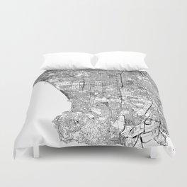 Los Angeles White Map Duvet Cover