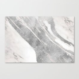 Marble - Silver Glitter on White Metallic Marble Pattern Canvas Print