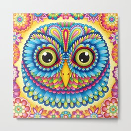 Tropicalia Owl Art Metal Print