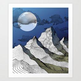 Woodcut Mountains - Night Art Print
