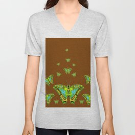 GREEN-YELLOW MOTHS ON COFFEE BROWN Unisex V-Neck