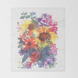Rainy Day Sunflowers Throw Blanket