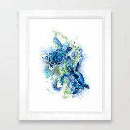 Sea Turtle Turquoise Blue Beach Underwater Scene Green Blue design Framed Art Print