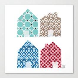 4 casitas esgrafiadas con colores. Houses. House. Canvas Print