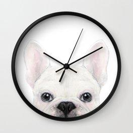 French bulldog white Dog illustration original painting print Wall Clock