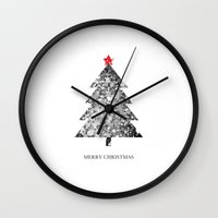merry christmas Wall Clocks featuring Merry Christmas by Zach Terrell