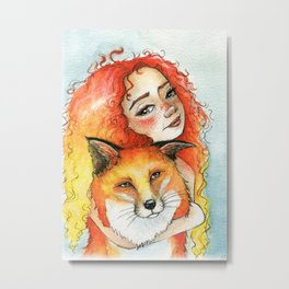 Fox Hugs Metal Print