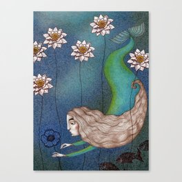 The Mermaid's Lake--Finding the Blue Flower Canvas Print
