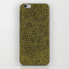 Black and faux gold swirls doodles iPhone & iPod Skin
