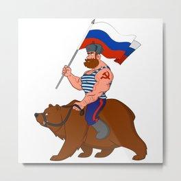 Russian riding a bear. Metal Print