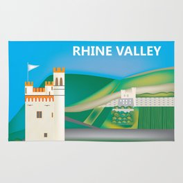 Rhine Valley, Germany - Skyline Illustration by Loose Petals Rug