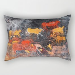 Cave Art Lascaux Deer Hunt Rectangular Pillow