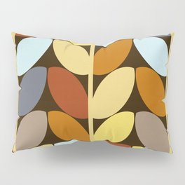 Retro 70s Color Palette Leaf Pattern Pillow Sham