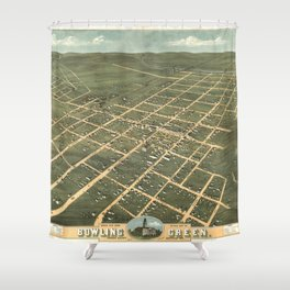 Vintage Pictorial Map of Bowling Green KY (1871) Shower Curtain