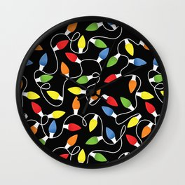 Endless Christmas Lights (On Black) Wall Clock