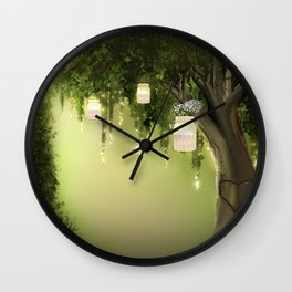 Enchanted Forest Heart Tree Wall Clock