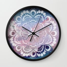 Night Clouds Watercolor Mandala Celestial Meditation Charm Wall Clock