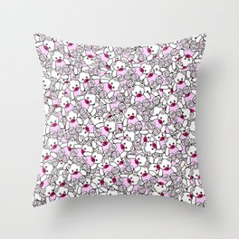 Cute Adorable Pink White Black Teddy Bear Collage Throw Pillow