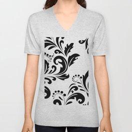 Bold Black & White Damask Pattern Unisex V-Neck