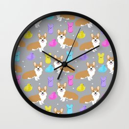 Corgi peeps easter marshmallow spring traditions dog breed welsh corgi Wall Clock