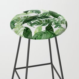 Green leaf watercolor pattern Bar Stool