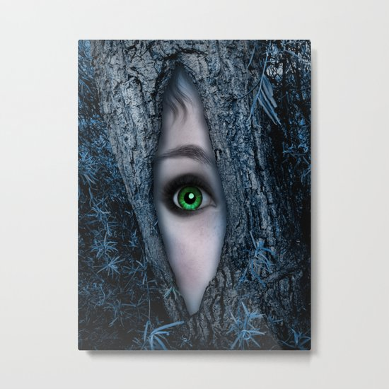Big green eye in a blue tree Metal Print