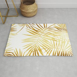 Tropical Palm Fronds in Gold Rug