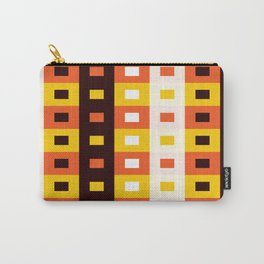 Geometric Pattern #74 (orange stripes squares) Carry-All Pouch