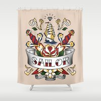 sailor Shower Curtains featuring Sailor by Vanessa Noerenberg