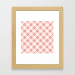 Diagonal buffalo check pale pink Framed Art Print