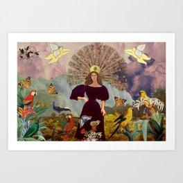 Girl with birds Art Print