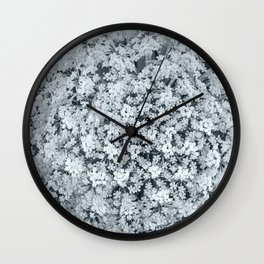 Queen Anne's Lace Flower in Cool Monchrome Black and White Wall Clock