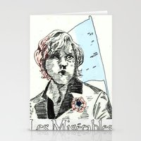 les mis Stationery Cards featuring Enjolras Les Mis Poster by Pruoviare