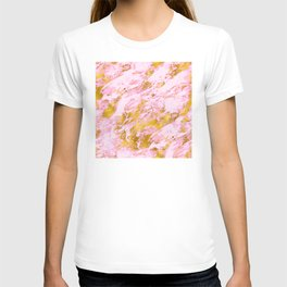 Pink and Vibrant Gold Sparkle Faux Marble Pattern T-shirt