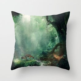 Gorgeous Gracious Deer Mother And Kid Grazing In Magical Forest Clearing Ultra HD Throw Pillow